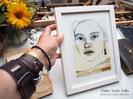 Kunstdruck Kohlezeichnung Gesicht mit Blattgold