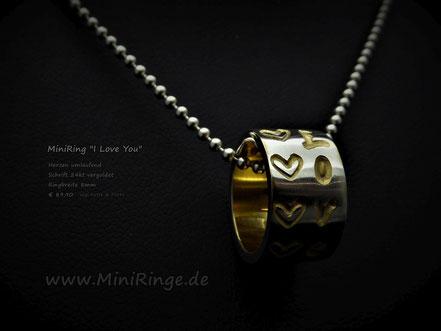 """MiniRing """"I Love You"""" mit Herzen"""