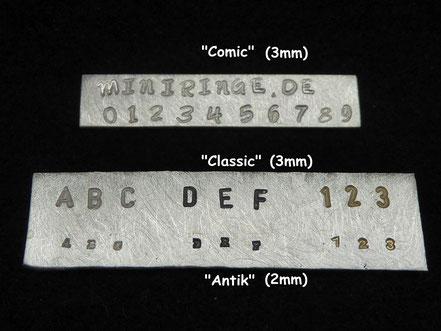 Verschiedene Schriftarten für MiniRinge