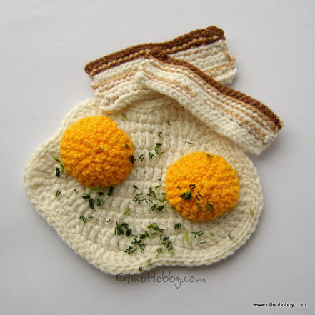 crochet bacon and eggs