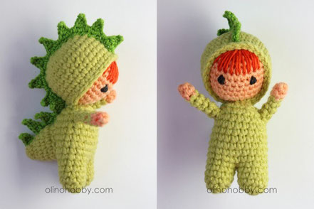 вязаная кукла в костюме дракона, амигуруми