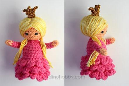 вязаная кукла принцесса, амигуруми кукла