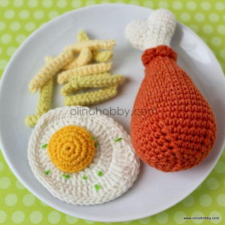вязаная еда, вязаная куриная ножка, вязаная яичница, игрушечная еда