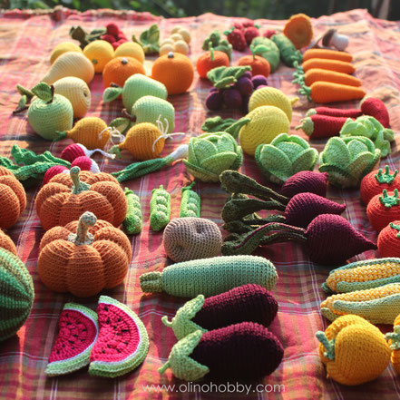 Вязаные фрукты и овощи OlinoHobby. Crochet fruits and vegetables by OlinoHobby.