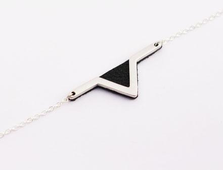 sarayana - bracelet triangle géométrique - cuir véritable - noir et argent - style aztèque - fait main - bijoux femme