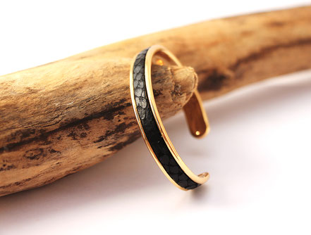 bracelet jonc doré, bracelet cuir, noir et doré, bijoux moderne, cadeau noël