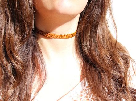 collier ras du cou, tour de cou cuir, collier cuir, collier marron léopard, choker necklace leather choker, collier marron léopard