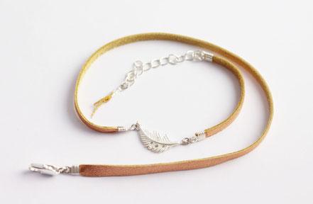 bracelet cuir véritable, cuir saumon brillant, bracelet multitours cuir, bracelet plumes, argenté doré, bracelet fin, ethnique chic, bijoux de fête, fait main
