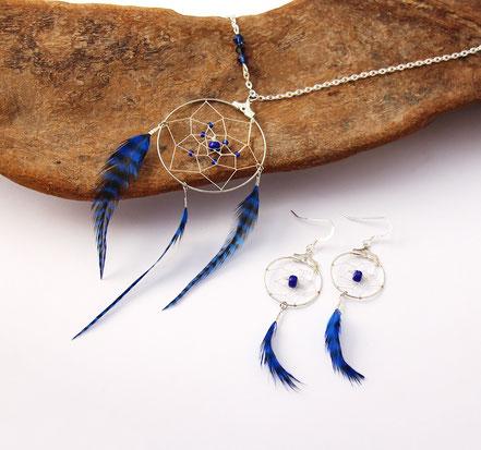 boucles d'oreilles attrape-rêves, boucles d'oreille bleu, bijou attrape rêves, ethnique-chic, boucles d'oreille argent, bijoux de créateur fait main