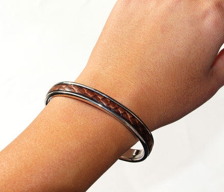 bracelet jonc, bracelet cuir, bracelet argent et cuir, bracelet cuir marron, cadeau noël, bracelet de créateur