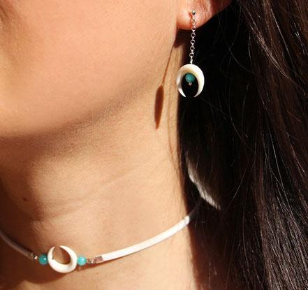 boucles d'oreille argent, boucles d'oreille amazonite, boucles d'oreille lune os taillé, boucles d'oreille blanches, bijou été,