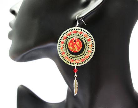 sarayana, bijoux cuir, boucles d'oreille cuir, boucles d'oreille argent, boucles d'oreille rouge doré, bijoux de créateur, création bijoux, bijoux fait main, boucles d'oreille plume