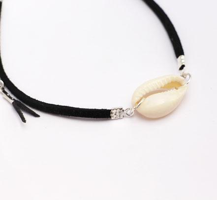 bracelet de cheville, bracelet de cheville coquillage cowrie blanc, bracelet de cheville lanière de cuir noir, bracelet cuir, bracelet ethnique-chic, bracelet de cheville festival