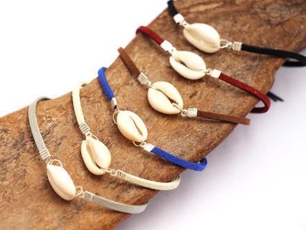 bracelet de cheville bleu, bracelet de cheville coquillage, bracelet de cheville lanière de cuir, bijoux été, bracelet de pied, bracelet ethnique-chic, bijoux festival