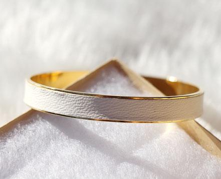 bracelet cuir blanc, bracelet blanc et doré, bracelet été, bracelet bangle, bracelet manchette, bijoux blanc et doré