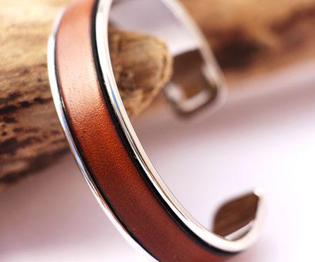 bracelet jonc, bracelet cuir, bracelet cuir et argent, bracelet cuir marron, bracelet de créateur cuir et argent