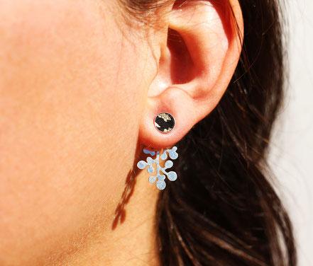 boucles d'oreille lobe, bijou de lobe, veste d'oreille, earcuff, boucles d'oreille devant-derrière, boucles d'oreille cuir arc en ciel, puce d'oreille argent, puce d'oreille rond, bijou tendance, bijou moderne