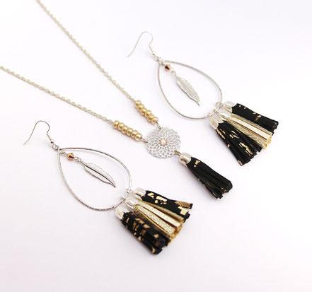 bijoux créateur, création bijoux, bijou de créateur, bijoux fait main, sarayana, sautoir bohème, bohème-chic, bijou de soirée, collier élégant, noir et argenté,bijoux noir et doré, sautoir pompons, bijoux cuir, sautoir cuir, hippie chic, pompon de cuir