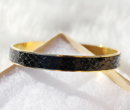 bracelet cuir serpent, bracelet noir et or, bracelet plaqué or, bijoux noir et doré, bracelet de créateur, bijoux de soirée