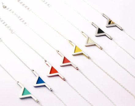 sarayana -  bracelet aztèque - cuir véritable - bleu électrique - triangle géométrique chaîne plaqué argent - style aztèque - bijoux femme - fait main