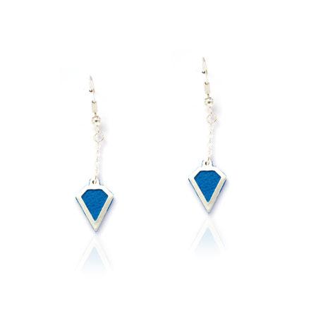 boucles d'oreille cuir, boucles d'oreille argent, bleu électrique, boucles d'oreille diamant, bijoux fait main, sarayana, bijoux géométrique, parure bijoux, bijoux cuir, bijoux élégant, bijoux fin, bijoux raffiné