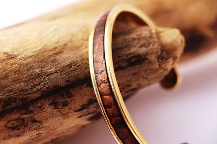 bracelet jonc, braclet doré, bracelet plaqué or, bracelet cuir serpent, bracelet jonc en cuir, marron et doré, cadeau noël
