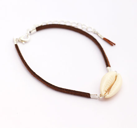bracelet de cheville coquillage, bracelet de cheville ethnique-chic, bracelet de cheville lanière de cuir marron, bijoux festival