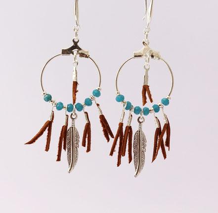 boucles oreille cuir, boucles oreille argent, boucles oreille plume, boucles oreille ethnique, bijoux fait main, bijoux ethnique-chic, bijoux raffiné, boucles d'oreille élégantes, bijoux cristaux de verre, bijoux franges de cuir, bijoux camel turquoise