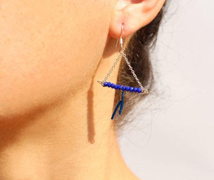 sarayana, bijoux créateur, création bijoux, bioux fait main, créateur de bijoux, boucles d'oreille triangle, bijoux triangle, bijoux géométrique, bijou moderne, boucles d'oreille Bleu électrique, boucles d'oreille argent,