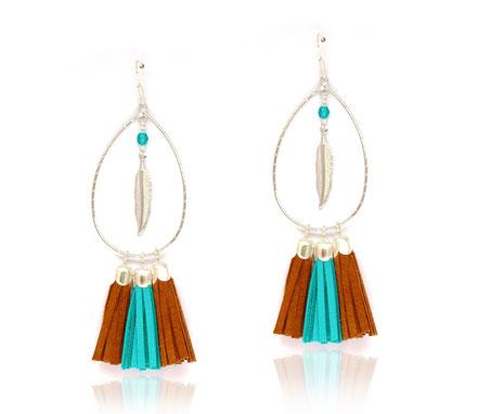 sarayana, bijoux de créateur, création bijoux, bijoux cuir, créateur bijoux, boucles d'oreille cuir, boucles d'oreille pompon, boucles d'oreille argent, bijoux bohème, bohème-chic, ethnique-chic, gipsy, boucles d'oreille turquoise camel, bijoux fait main