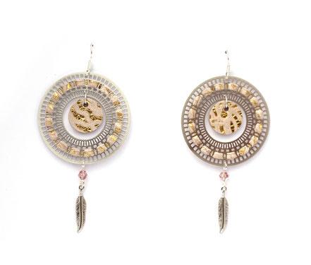 bijoux créateur, bijou fait main, bijoux cuir, créateur de bijoux, créatrice bijou, boucles d'oreille cuir, bijoux rose poudré doré, boucles d'oreille argentées, boucles d'oreille créôle, boucles d'oreille argent, bijoux plume, plume argent, sarayana,