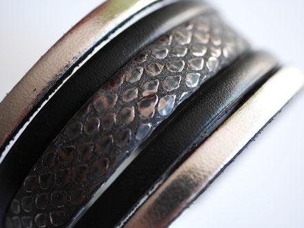 bracelet manchette cuir, bracelet multirangs, bracelet multitours, bracelet manchette noir et argent, bracelet manchette soirée, bijoux de créateur, sarayana