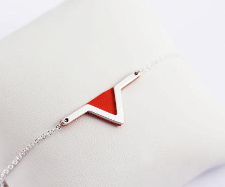 sarayana - bracelet triangle géométrique - cuir véritable - rouge vermillon - fait main