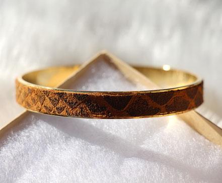 bracelet cuir marron serpent, bracelet plaqué or, bracelet manchette, bracelet bangle, bracelet de soirée,  bijou marron et doré
