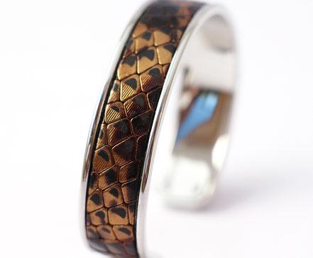 bracelet jonc, bracelet cuir serpent, jonc cuir, jonc argent, bracelet de créateur fait-main