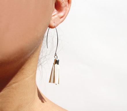 sarayana, création bijoux, créateur bijoux, boucles d'oreilles, boucles d'oreille pompon, pompon cuir, boucles d'oreille blanc argenté, boucles d'oreille cuir, bijoux cuir, boucles d'oreilles gipsy, ethnique, bohême