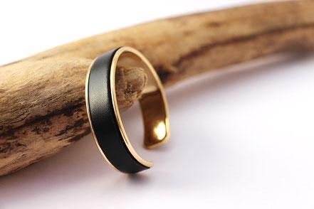 bracelet jonc, bracelet cuir, bracelet noir et or, noir et doré, bracelet soirée, bijoux de créateur