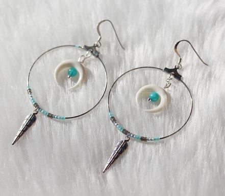 boucles d'oreille créole, boucles d'oreille argent, boucles d'oreille amazonie, lune en os taillé blanc, boucles d'oreilles pendantes