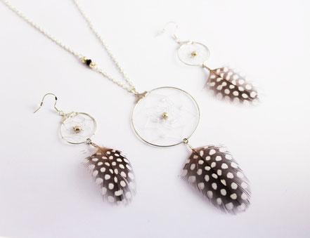 sarayana, attrape rêve, dreamcatcher, capteur de rêve, boucles d'oreille plume, bijoux attrape rêve, bijou fait main,