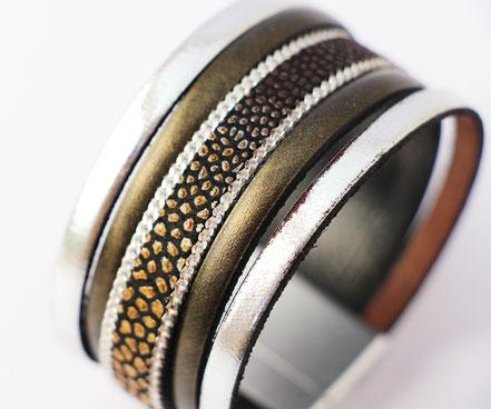 bracelet manchette en cuir, bracelet multirangs, bracelet multiliens de cuir, lanières de cuir, bracelet manchette de soirée, créateur bijoux cuir, bracelet bronze,