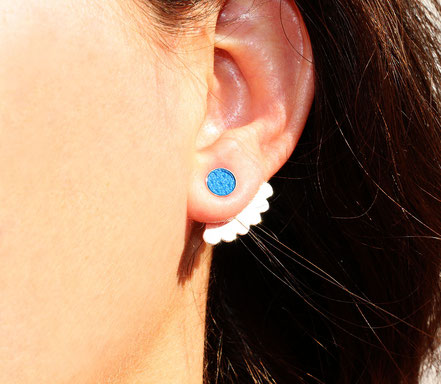 boucles d'oreille de lobe, boucle d'oreille puce, boucles d'oreille ronde, boucles d'oreille devant-derrière, boucles d'oreille argent, bijou dessous de lobe, earcuff