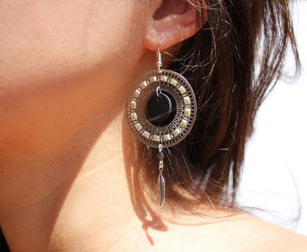 bijoux créateur, bijou fait main, bijoux cuir, créateur de bijoux, créatrice bijou, boucles d'oreille cuir, bijoux noir et doré, boucles d'oreille argentées, boucles d'oreille créôle, boucles d'oreille argent, bijoux plume, plume argent, sarayana,