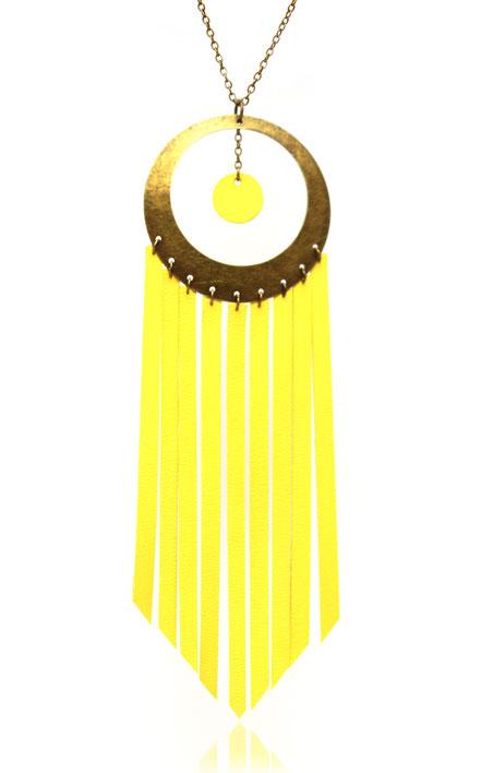 sarayana, bijoux cuir, sautoir cuir, sautoir jaune, sautoir hippie chic, sautoir bohème chic, sautoir jaune, bijoux fait main, bijoux créateur, création bijoux,