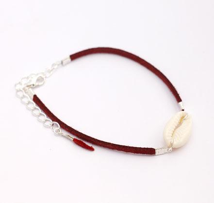 bracelet de cheville, bracelet de pied, bijoux été, bracelet de cheville coquillage cowrie, bracelet lanière de cuir, bracelet de cheville ethnique-chic