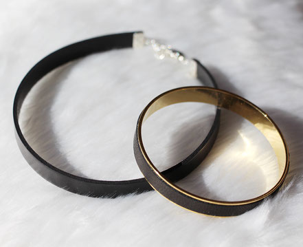 bracelet cuir noir, bracelet plaqué or, bracelet manchette, bracelet bangle, bracelet noir et doré