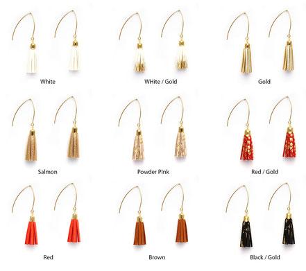 bijoux créateur, création bijoux, bijoux fait main, boucles d'oreille de créateur, bijoux de soirée, bijou moderne, boucles d'oreille de soirée, saumon brillant et doré, bijoux saumon brillant et doré, long crochet d'oreille, bijoux élégant