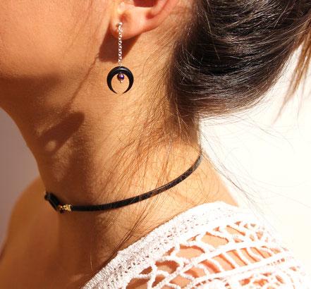 boucles d'oreille argent, boucles d'oreille hématite, boucles d'oreille corne noire taillée, bijou lune, boucles d'oreille noire