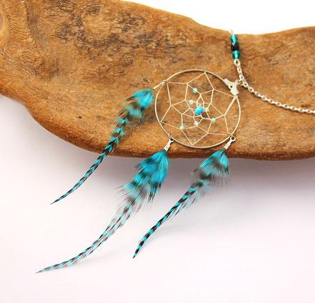 sautoir attrape-rêves, collier long capteur de rêve, sautoir turquoise, bijoux de créateur, sautoir plumes, attrape-rêves plume, cadeau original