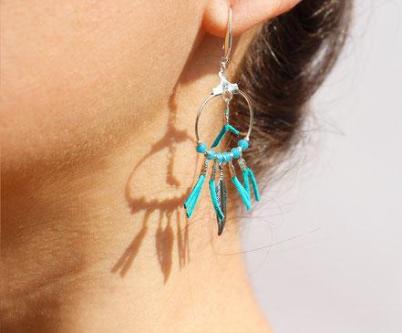 boucles oreille cuir, boucles oreille argent, boucles oreille plume, boucles oreille ethnique, bijoux fait main, bijoux ethnique-chic, bijoux raffiné, boucles d'oreille élégantes, bijoux cristaux de verre, bijoux franges de cuir, bijoux créateur,turquoise