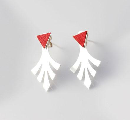bijoux de lobe, boucles d'oreille devant-derrière, boucles d'oreille de lobe, boucles d'oreille triangle, bijou géométrique, bijoux tendance, bijou moderne, earcuff, puce d'oreille